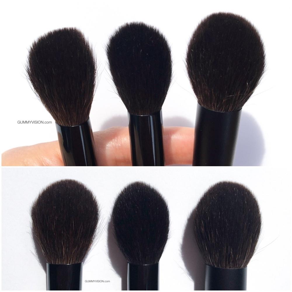 L to R:  Suqqu Cheek Brush, Wayne Goss 02, Surratt Cheek Brush - gummyvision.com