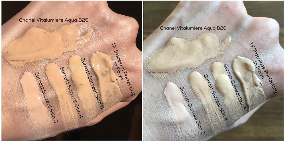 Surratt Surreal Real Skin Foundation Wand color comparisons (L - sunlight, R - indoor window light) - gummyvision.com