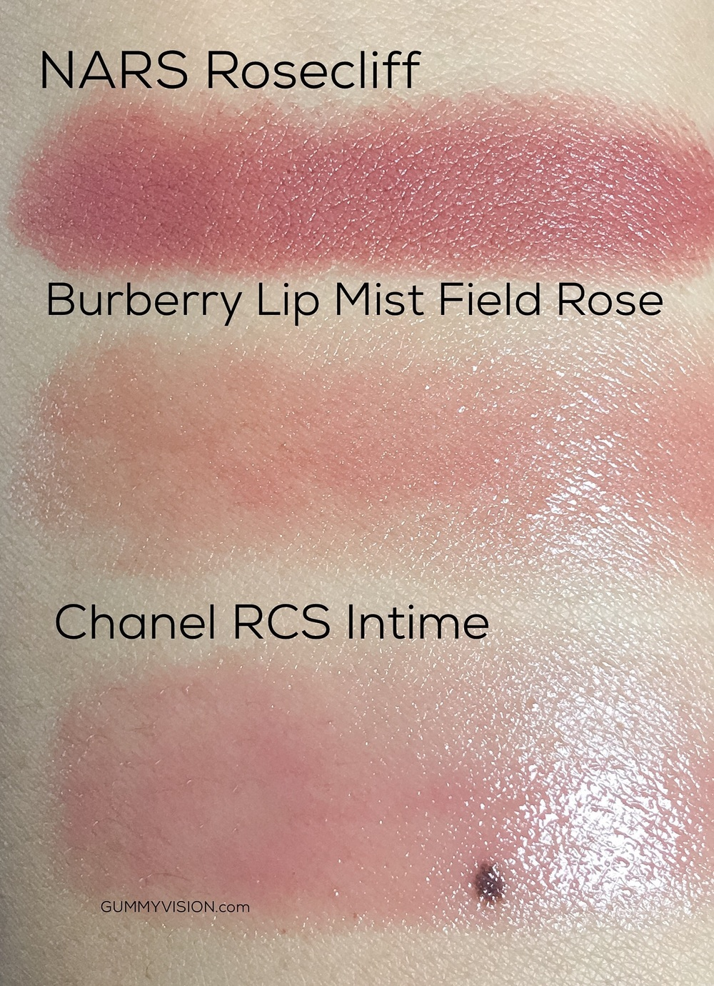Neutral Lips - NARS Rosecliff, Burberry Lip Mist in Field Rose, Chanel Rouge Coco Shine in Intime - gummyvision.com