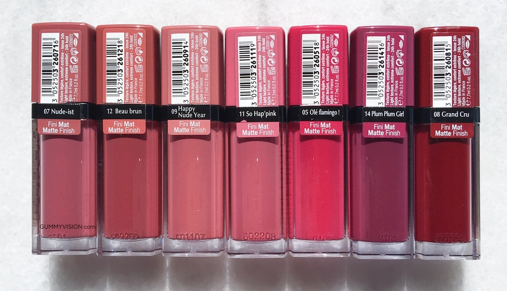 Bourjois Rouge Edition Velvet Lipsticks (L-R): 07 Nude-ist, 12 Beau Brun, 09 Happy Nude-Year, 11 So Hap'pink, 05 Ole Flamingo, 14 Plum Plum Girl, 08 Grand Cru - gummyvision.com