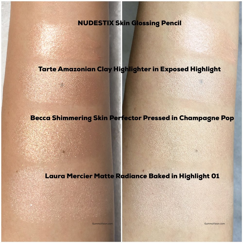 Heavy swatches of (L - sunlight, R - indoors) NUDESTIX Skin Glossing Pencil  and the  Tarte Amazonian Clay 12-hr Highlighter in Exposed Highlight vs. Becca and Laura Mercier