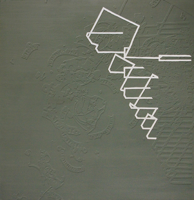 "Prion  Paper wax and oil on panel  48"" x 48""   2008"