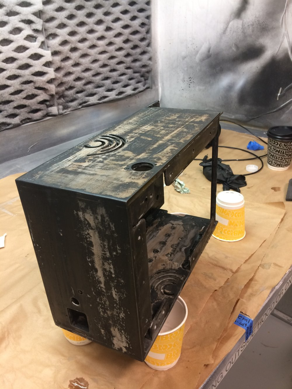 Patina application on electronics enclosure