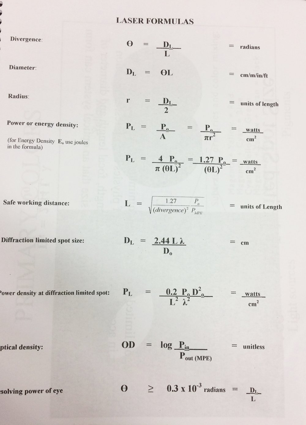 formulas used for laser certification test.