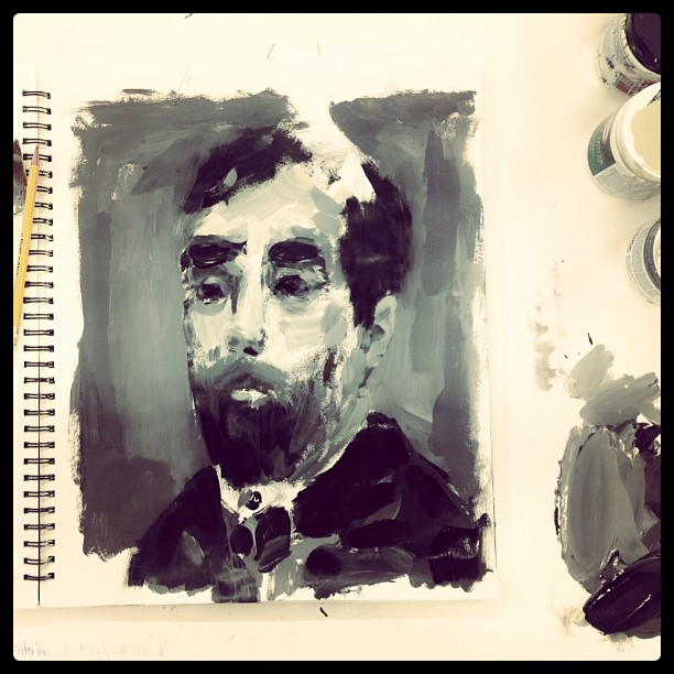 Morning sketch. A very quick out-of-my-head portrait study of an unknown bearded man. Just for fun… house paints (at ArtHaus studio).