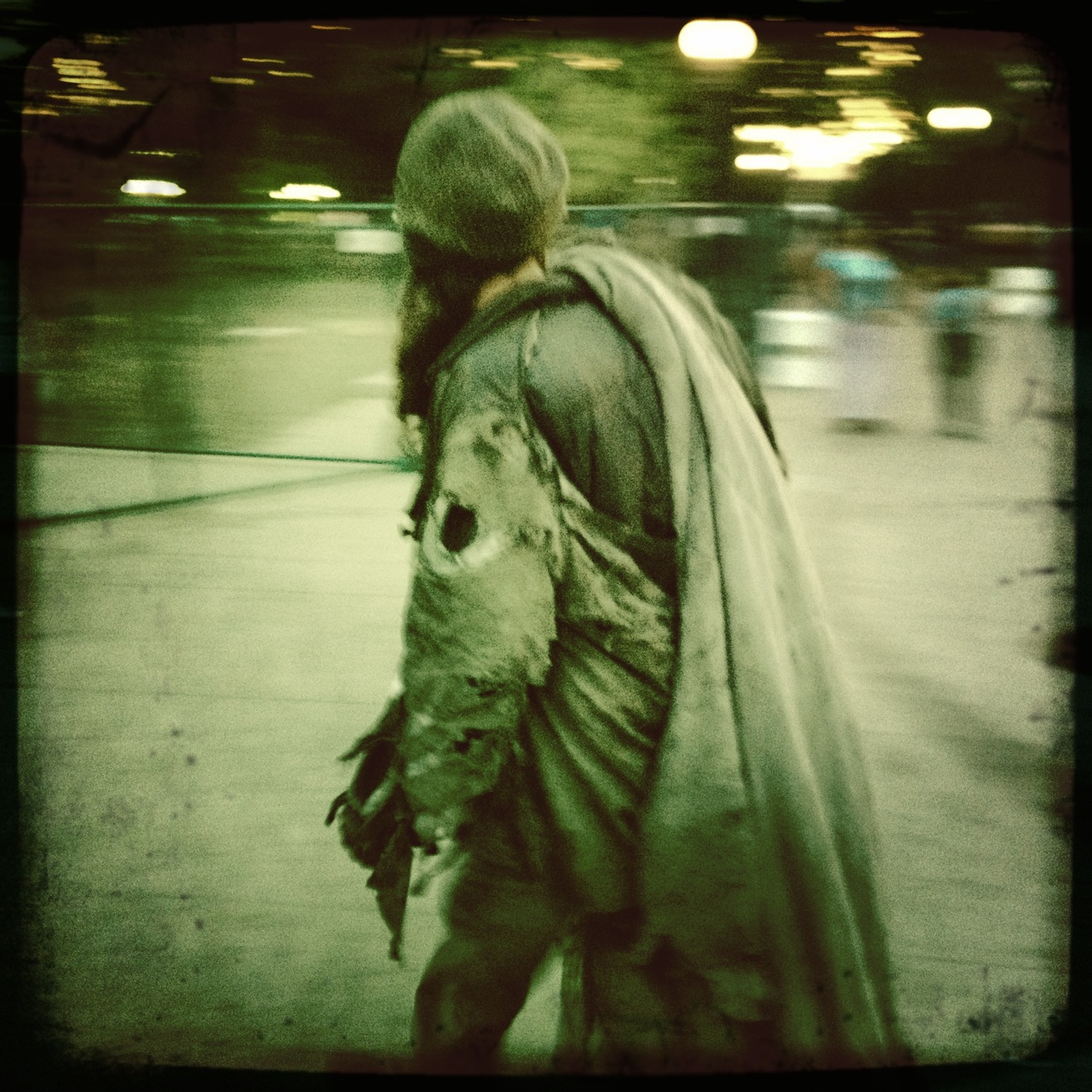 A man on a mission. From the street.   John S Lens, Float Film, No Flash, Taken with  Hipstamatic