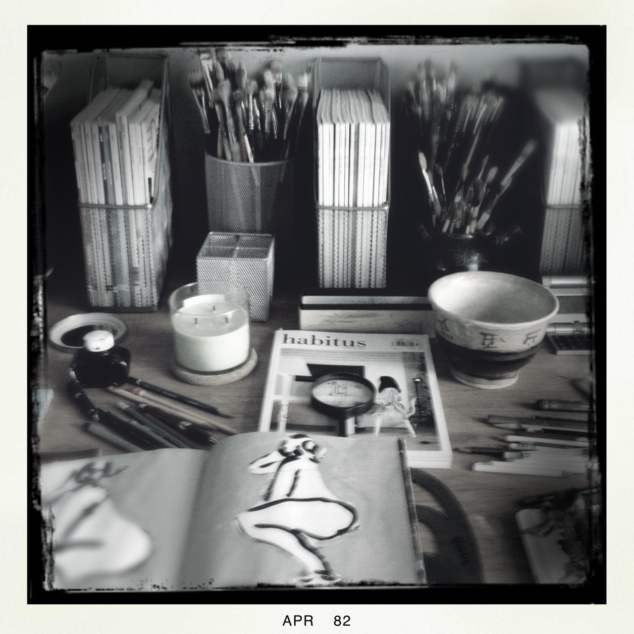 Another angle of my work table with inspirations…  Americana Lens, BlacKeys B+W Film, No Flash, Taken with  Hipstamatic