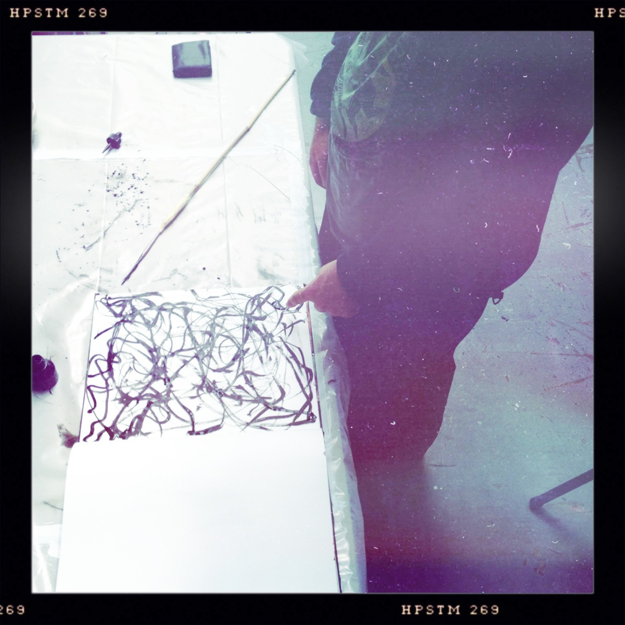 Zach working on his Expression of Line… Bettie XL Lens, Pistil Film, No Flash, Taken with Hipstamatic