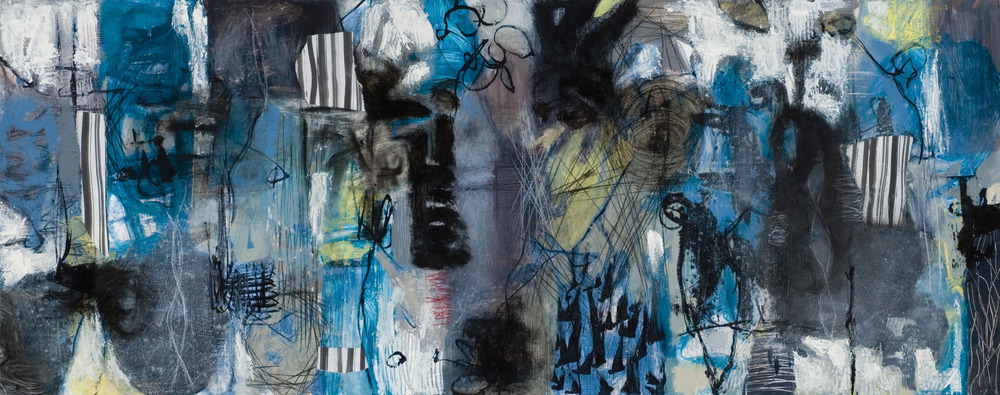 Raw Marks #8   Acrylic Latex, polymer gel medium, drawing ink, graphite and charcoal on paper    24 x 65 inches