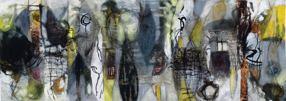 Raw Marks #5 Acrylic Latex, polymer gel medium, drawing ink, graphite and charcoal on paper 24 x 68 inches