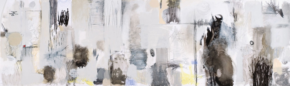Raw Marks #2 Acrylic Latex, polymer gel medium, drawing ink, graphite and charcoal on paper 24 x 80 inches