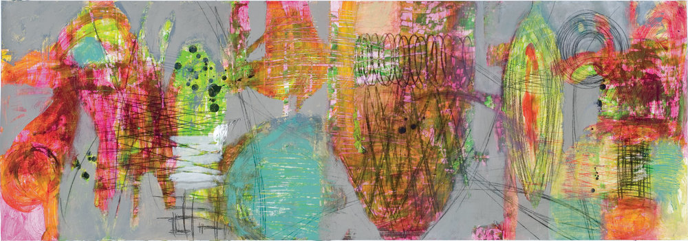 Raw Marks #12  Acrylic Latex, polymer gel medium, drawing ink, graphite and charcoal on paper   24 x 67 inches