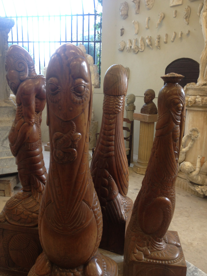 Sea urchins sculptures made of wood. by Henry Clews at Chateau de La Napoule.