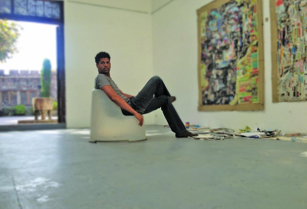 Michael working in the France studio at Chateau de la Napoule.