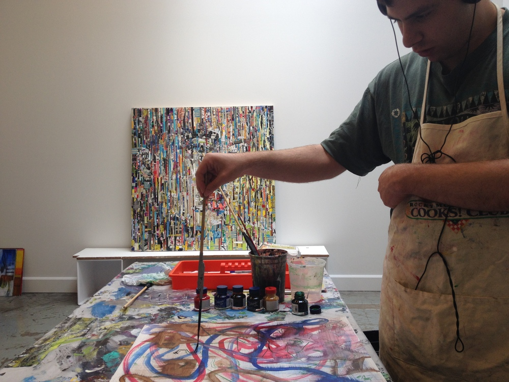 "Zachary Inkeles in Michael's studio working on ""automatic"" line drawings."