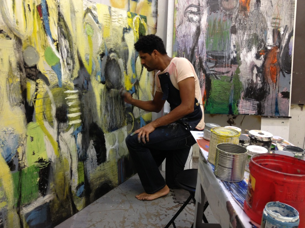 "Working on the ""Raw Marks"" series in the ArtHaus studio."