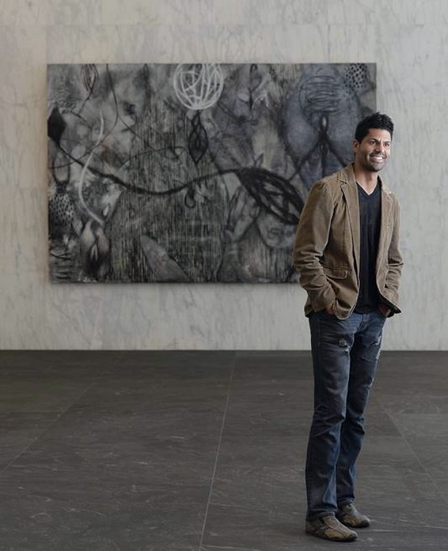 "Michael Gadlin uses charcoal he forages from forest fires in paintings like this one in ""Entice"" on view at 1801 California St. in downtown Denver. (Photo by Cyrus McCrimmon, The Denver Post)"