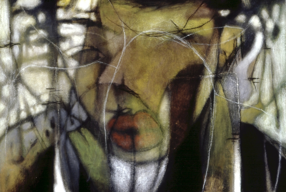 Acrylic, ink, charcoal, and collage on wood  Circa 2000-2001 Private collection