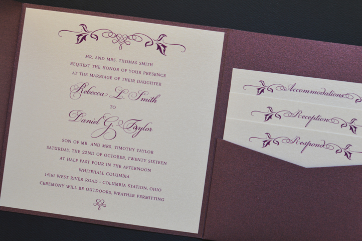 A merlot pocket invitation with fall inspired motifs.