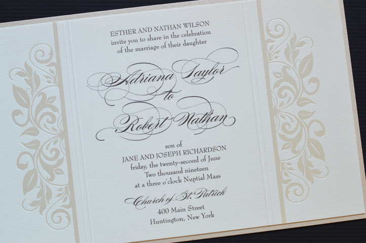This invitation features lovely flourish designs on either side of the verse.