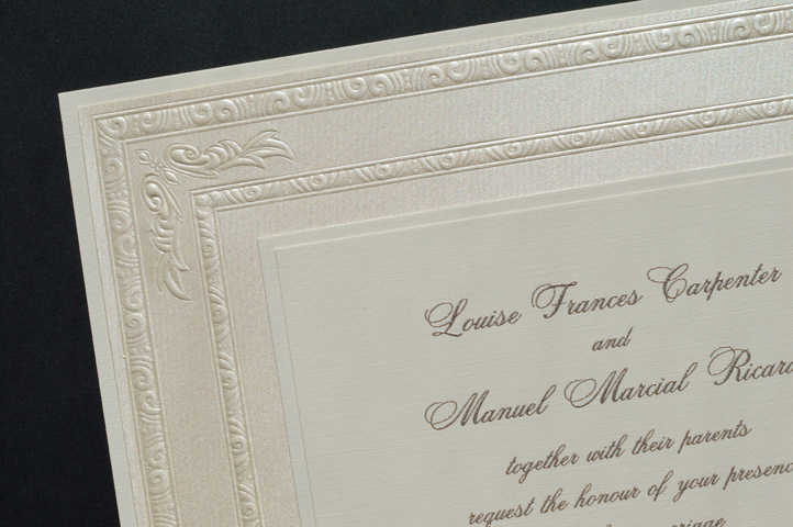 This invitation oozes elegance with it's highly embossed border.