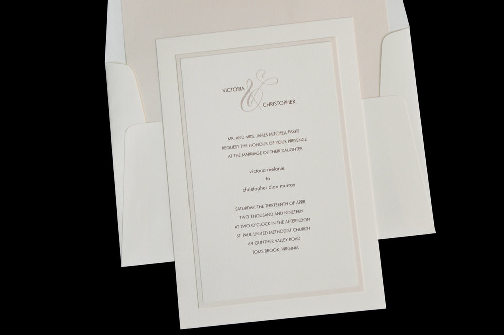 An elegant triple-layer invitation for a classic look.