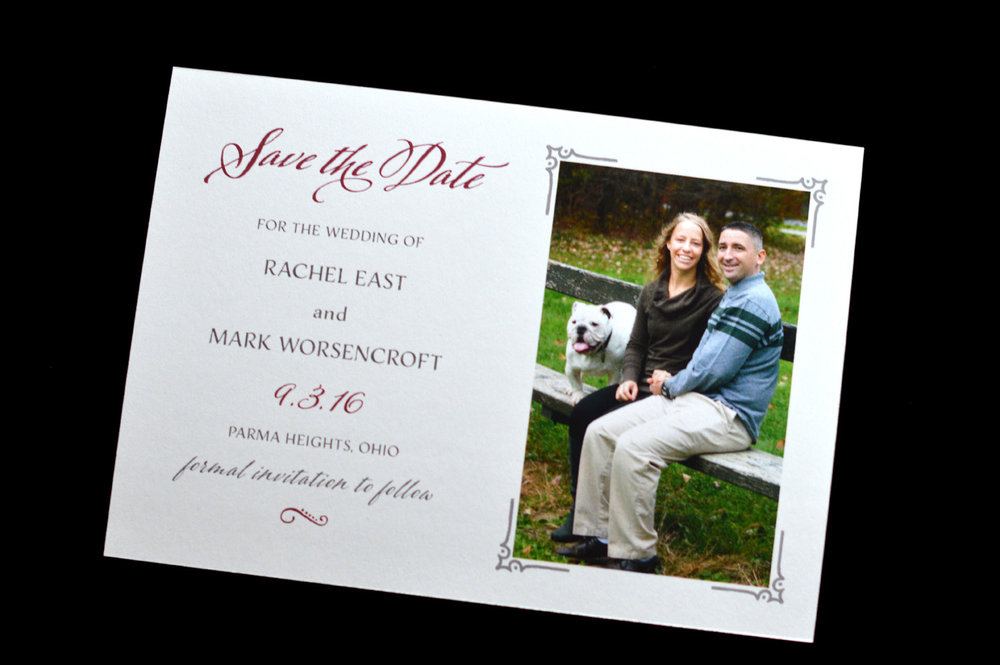 A fun save the date with with photo (yes, of course the dog needs to be in it) and details.