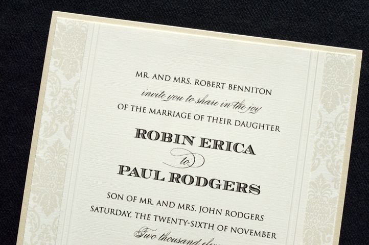 The decorative edges on this invitation make it a stand out!