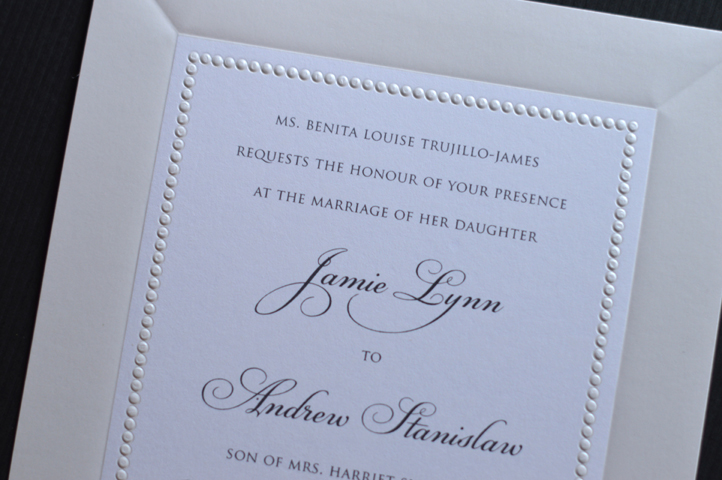 This invitation features 2 borders-a wide pearl border and a smaller inner border that is raised to simulate pearls.