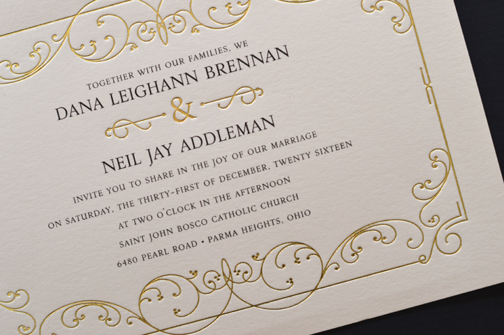 Elegant, yet fun, this invitation is vintage inspired and features an elegant gold foil border.
