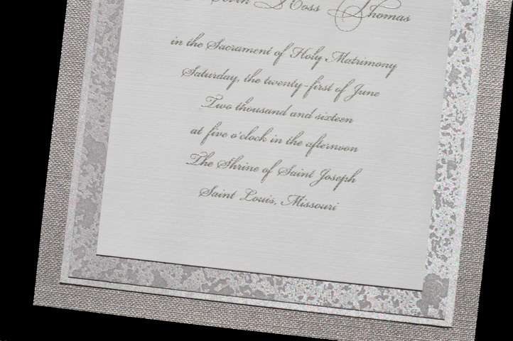 With this invitation, the verse is surrounded by 3 layers of stunning silver papers.
