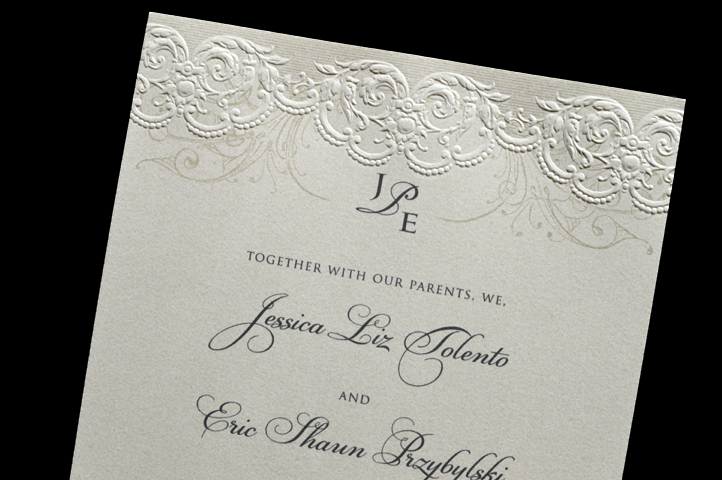 With this invitation, the verse is set off by the delicate raised lacy borders at the top and bottom of the invitation.