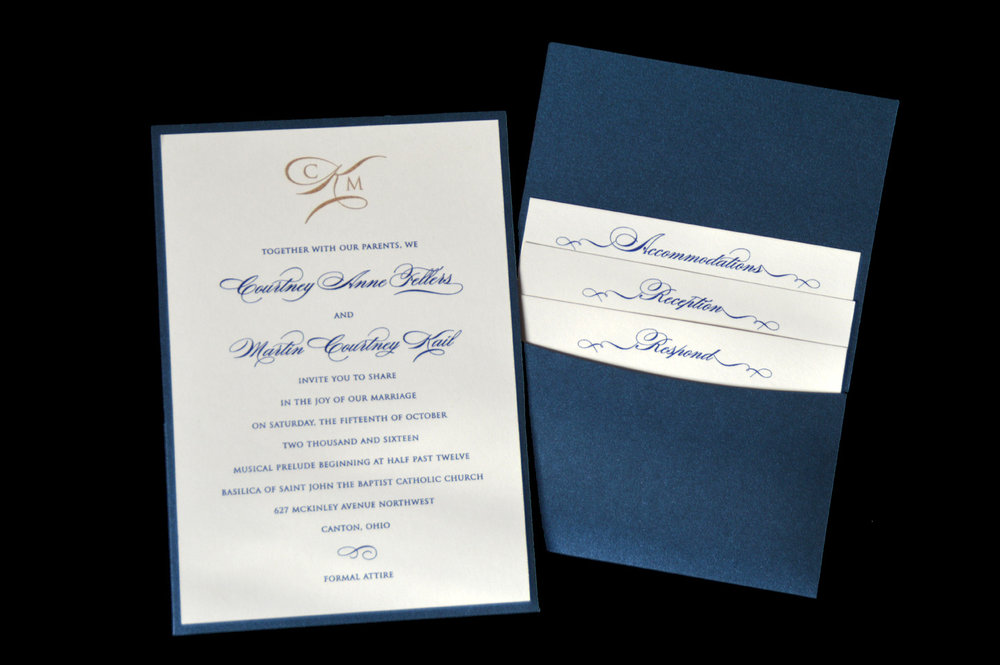 This invitation features a pocket on the back to hold your enclosure cards.