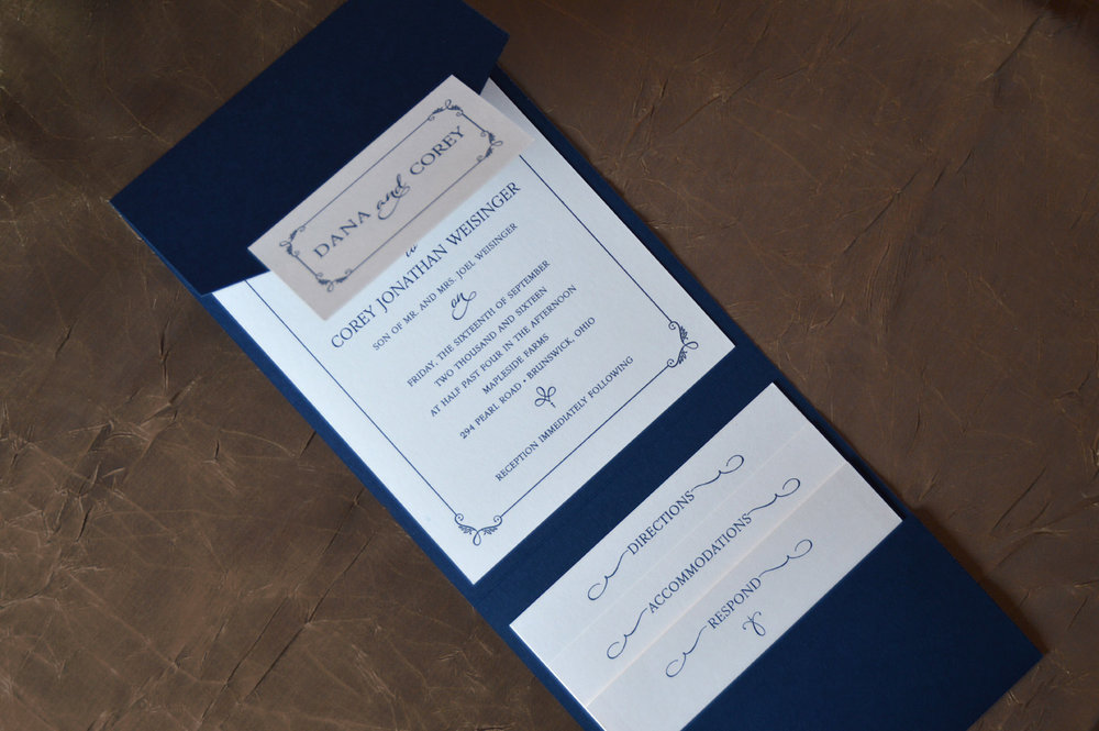 A lovely vertical pocket in deep navy with off white enclosure cards.