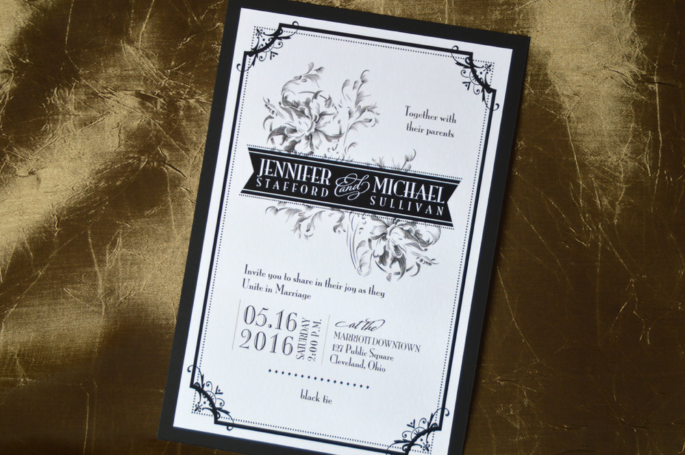 This two-layer invitation features bright white and deep black matte papers and a vintage design.
