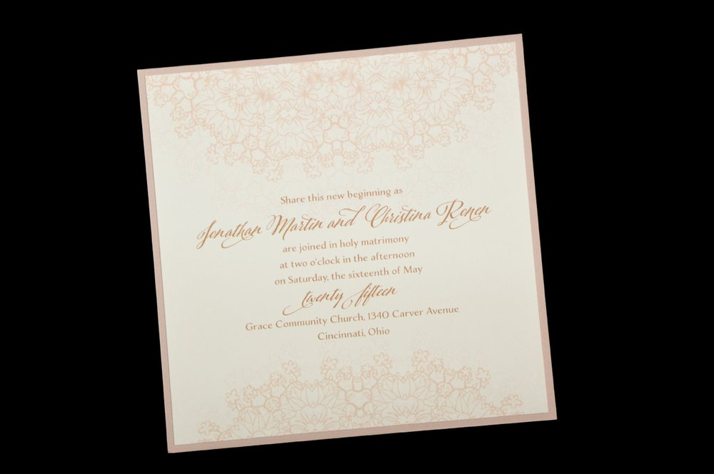 This 2-layer invitation features a subtle lacy design at the top and bottom.