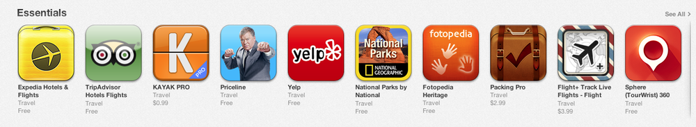 Sphere among top 10 travel essentials iPad apps in the App Store today (13 August 2013).