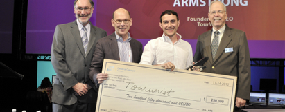 Sphere Founder and CEO Charles Armstrong Receives General Catalyst Award for Travel Innovation. The $250,000 award presented by PhoCusWright's Norman Rose (left), General Catalyst Partners' Joel Cutler (2nd from left), PhoCusWright's Bob Offutt (right). Image Courtesy of PhoCusWright