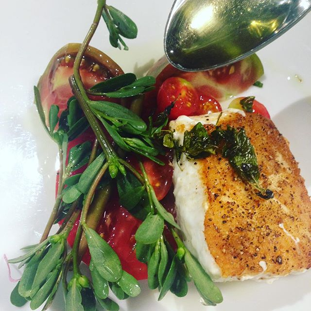 #summertime #entree #halibut #heirloomtomatoes #purslane #all local #knowyourfarmer #hamptons #newyork #eeeeeats #chefsofinstagram