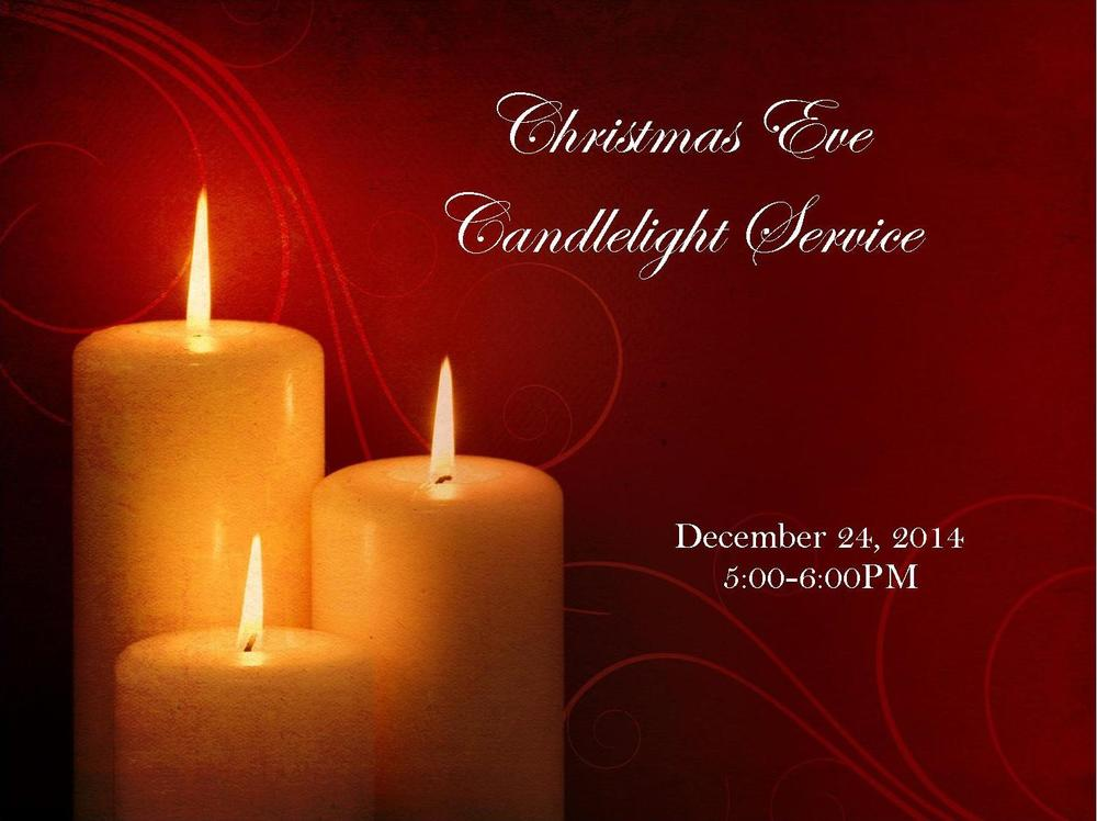 Join us for our annual Candlelight Service. The entire family is invited, including little ones. Nursery will be provided through 2 years for those interested.