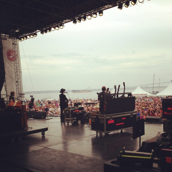 Beck on stage at the Newport Folk Festival.