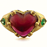 One-of-a-kind  ring with 12 ct. cabochon heart-shaped ruby and two tsavorites in 20k  gold; price upon request; Daniel Gibbings, Montecito, Calif.;  805-565-1284;   danielgibbingsjewelry.com
