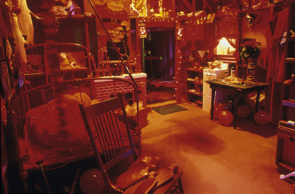 Red Room interior. There were dioramas in the cupboard, the windows, and the oven.