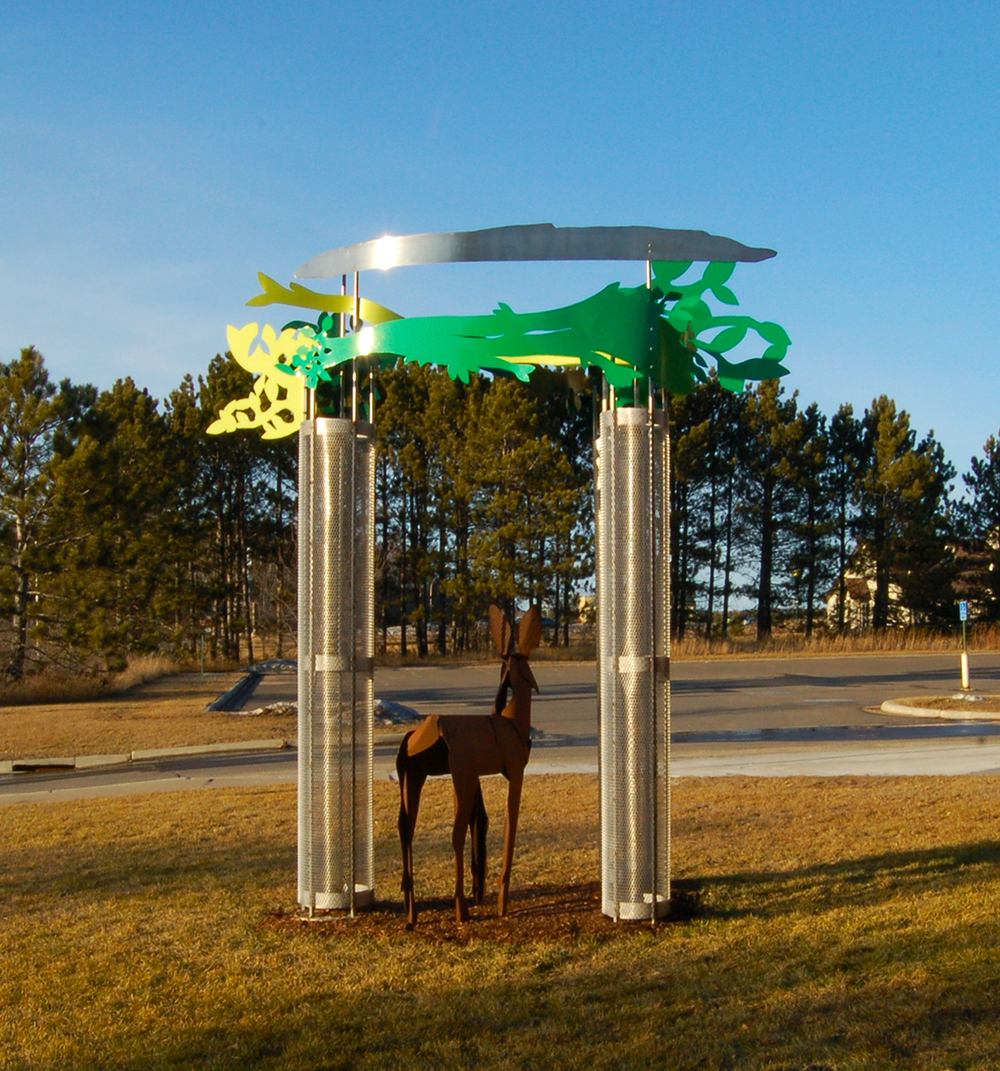 Iron Deer in the Steel Forest , stainless steel, enameled steel, and Corten steel, 14 x 14 x 14