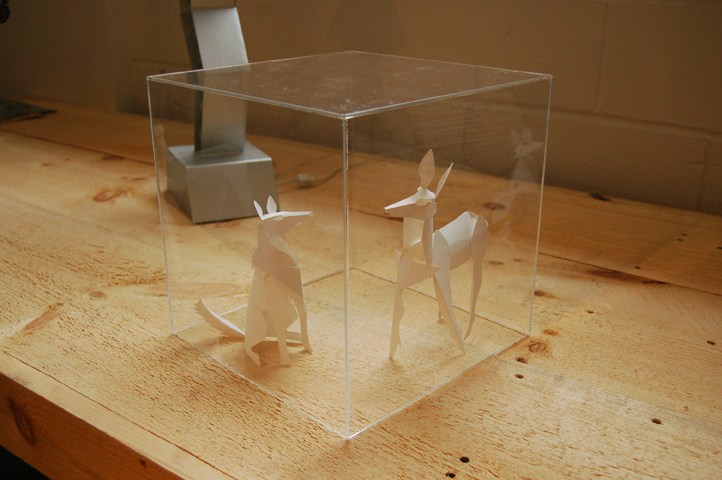 "Deer and wolf in paper from ""Pack and Herd""-- these can be scaled up to life-size and made in Corten steel"