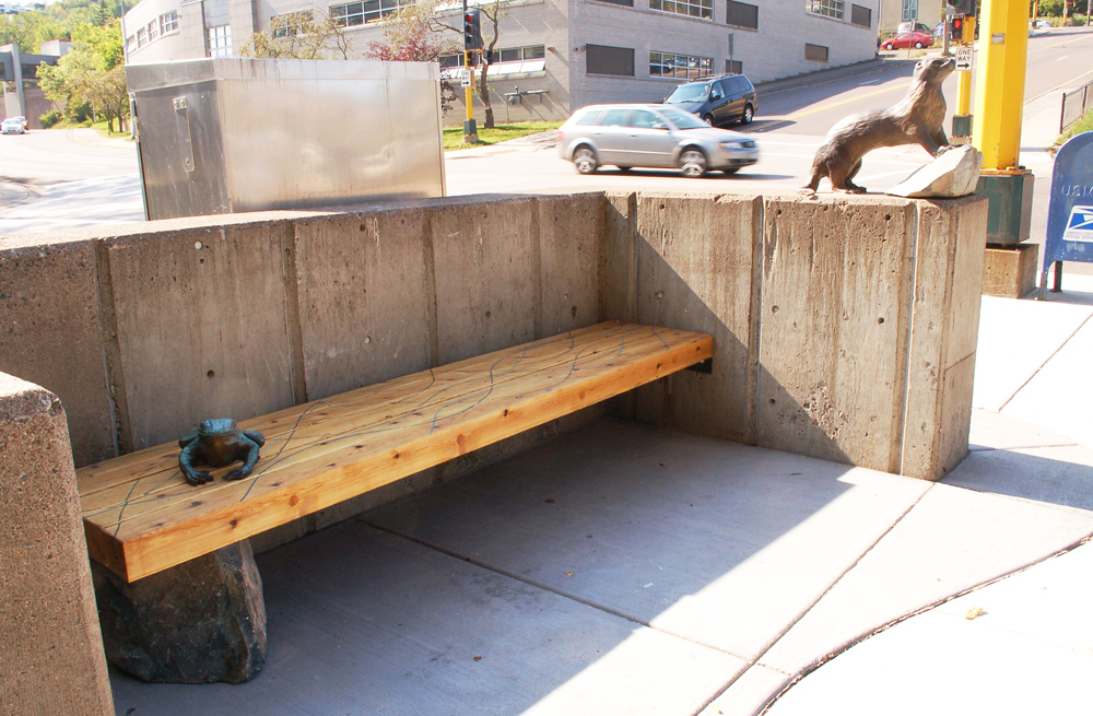 Estuary Plaza; Frog Bench, Otter