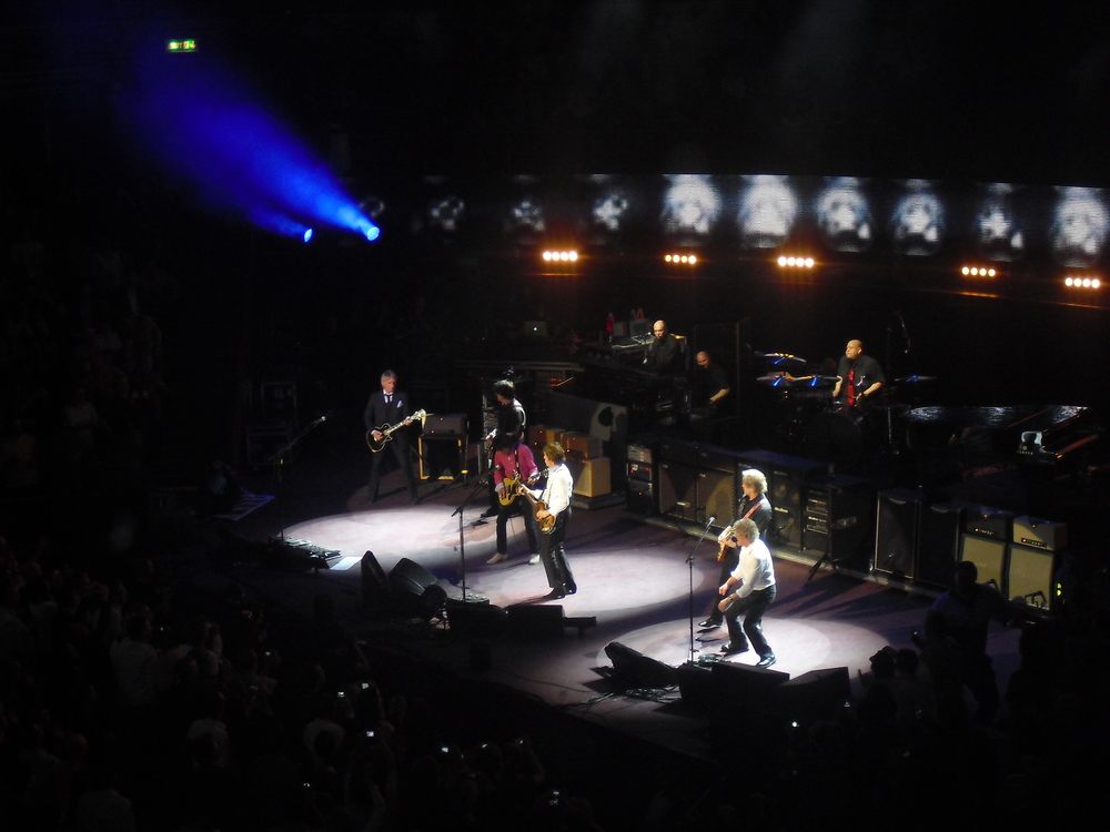 Paul Weller from The Jam, Ronnie Wood from The Rolling Stones, Paul McCartney, and Roger Daltrey from The Who playing Get Back at the Royal Albert Hall on March 29, 2012.