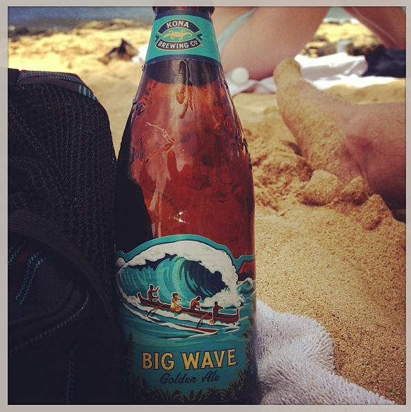 Big Wave Golden Ale on Poipu Beach
