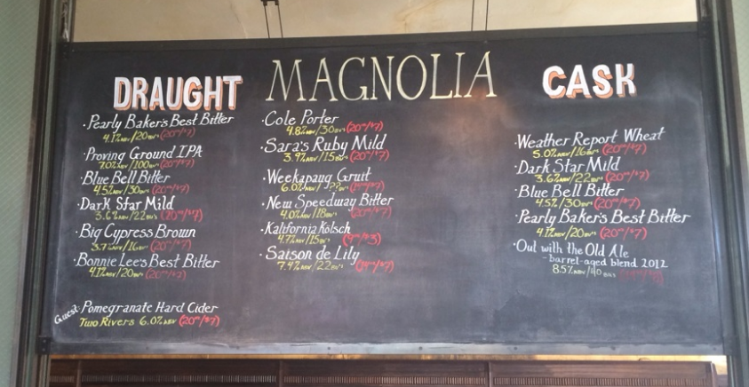 Magnolia Brewing Tap List
