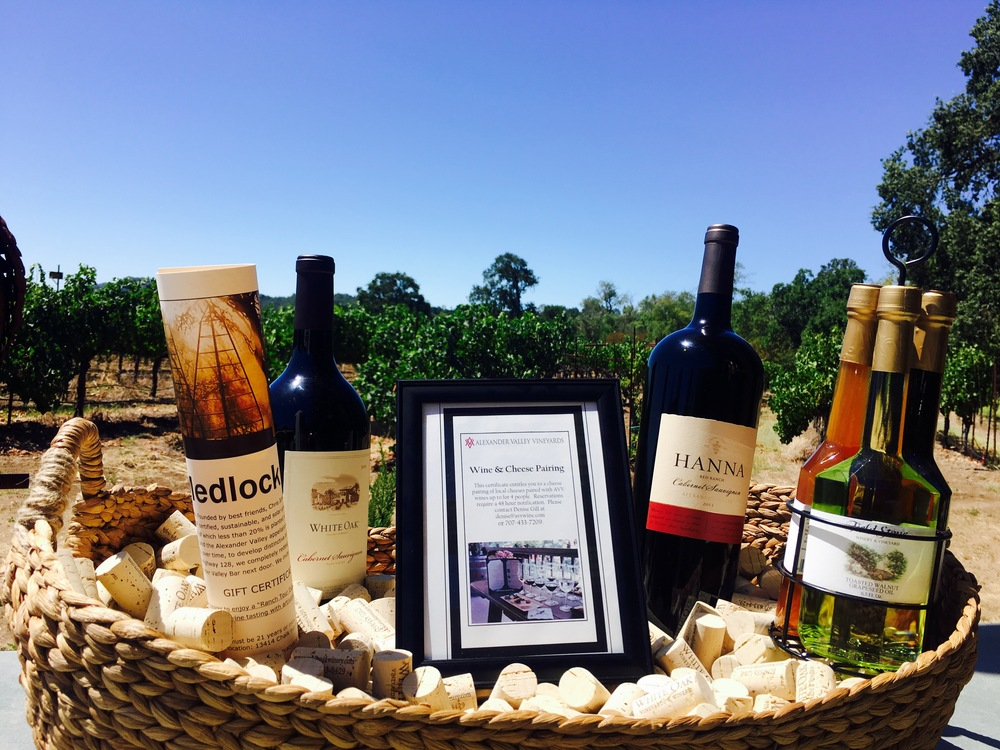 Visit any of the five participating wineries for a chance to take home a wine country gift basket!
